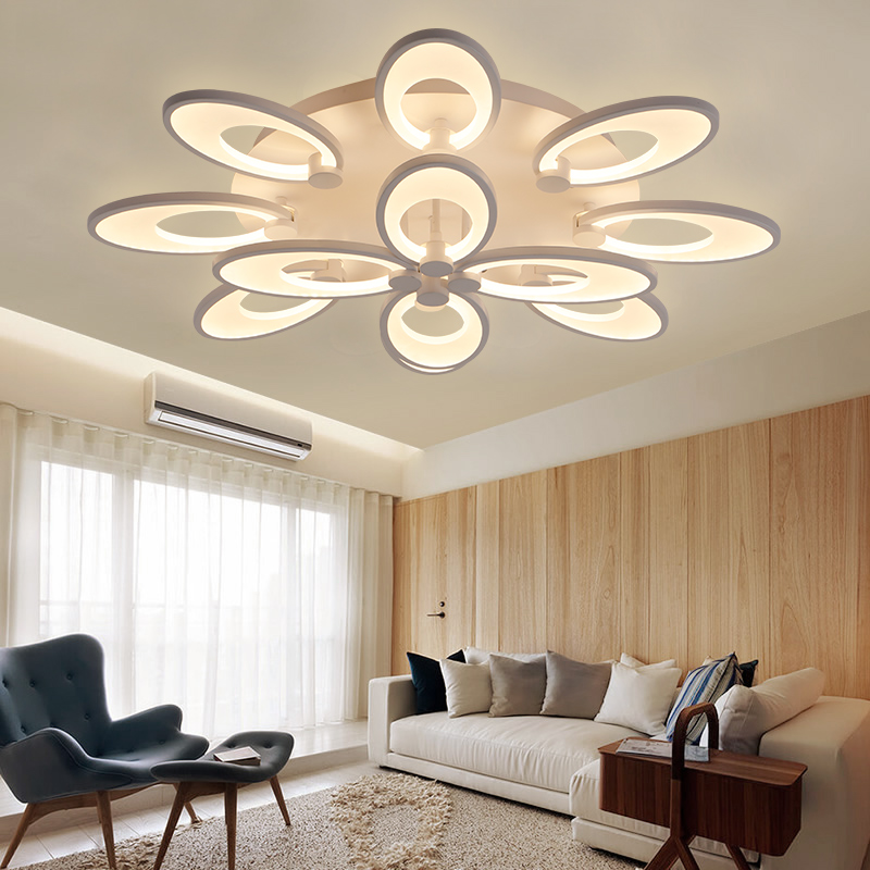 Lovely Luxury Dining Living Room Bedroom Livingroom Acrylic Flower Led Dimmable Lighting Ceiling Lamp Light With Remote Surface Mount Ceiling Lights & Fans