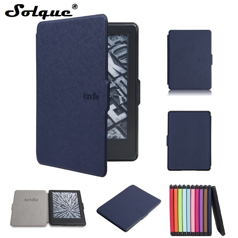 Solque Slim ebook Case For Amazon Kindle 8 8th Generation 2016 Capa PU Leather Flip Hard Shell Cover eReader Cases Cross Lines hot case cover for amazon new kindle 2016 8th 6 generation ebook pu leather painted inner frame for 6 inch pen screen film