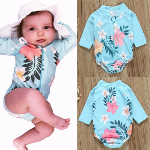 Hot Toddler Kid Baby Girl Swimwear Swimsuit Bikini Bathing Suit Swimming Costume Long Sleeve O Neck Printed Cute Swimwear