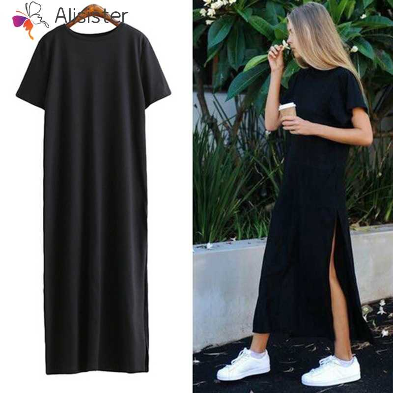 a29ae6f54 Maxi T Shirt Dress Summer 2019 Casual Short Sleeve Women Black Everyday Dresses  Split Side Design