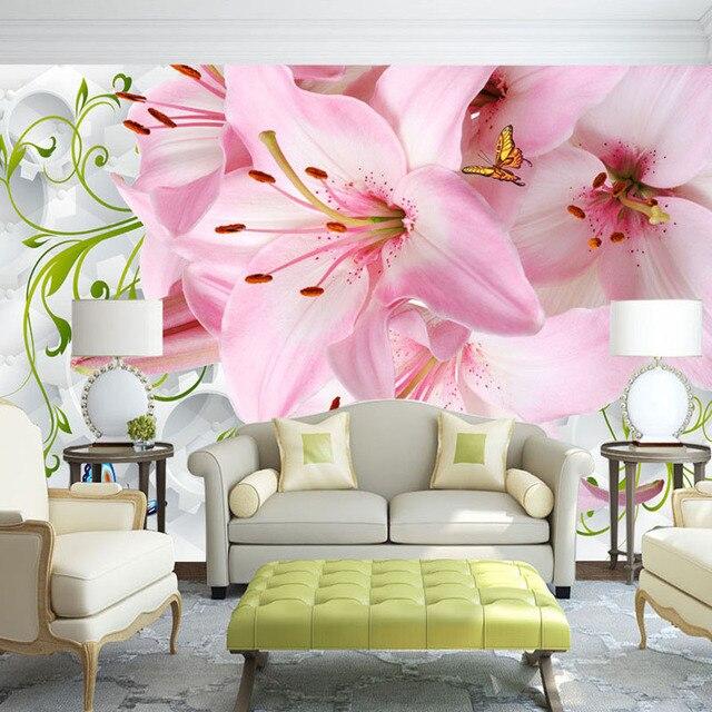 Custom Wall Cloth Wallpaper 3D Lily Flower Butterfly Modern Living ...