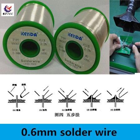 High Quality Welding Wire No Lead Environmental Solder Wire 0.6mm Soldering Wire 500g professional welding wire feeder 24v wire feed assembly 0 8 1 0mm 03 04 detault wire feeder mig mag welding machine ssj 18