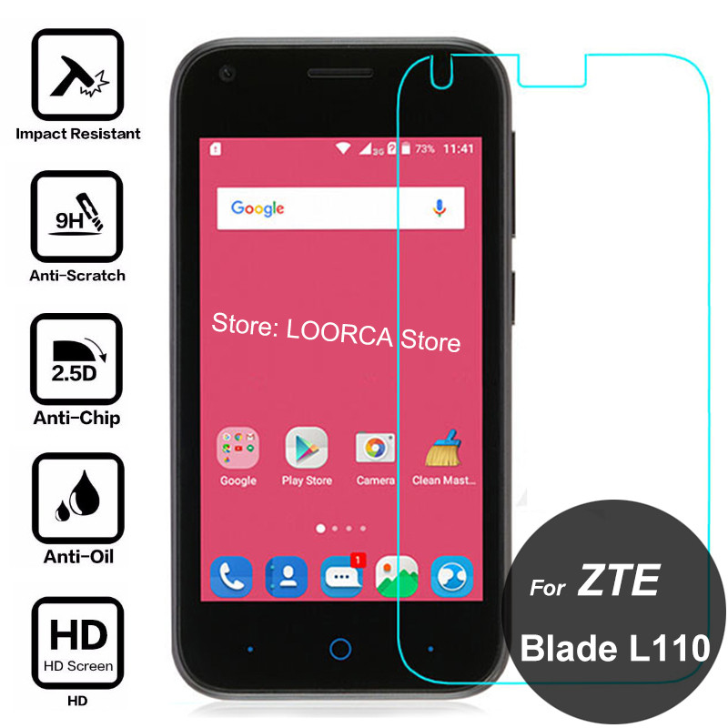 For ZTE Blade L110 A110 Screen Protector 2.5D 9H Tempered Glass Safety Protective Film On L A 110 A110/L110 wipe zte L110