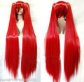 Hot heat resistant Party hair>>>New wig Heat Resist Vocaloid Miku Long Red Show Anime wig 100cm + Two Ponytails
