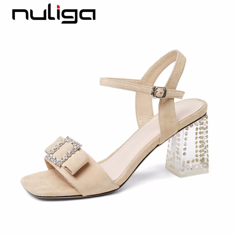 Nuliga bow-knot crystals buckle strap peep toe high heels kid suede features classic mature lady office career woman sandals L93