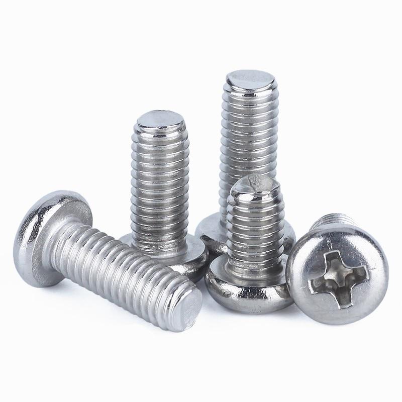 100pcs Pm2/3 M2 M3 Iso7045 Din7985 Gb818 Nickel Plated Cross Recessed Round Pan Head Pm Screws Phillips Screws