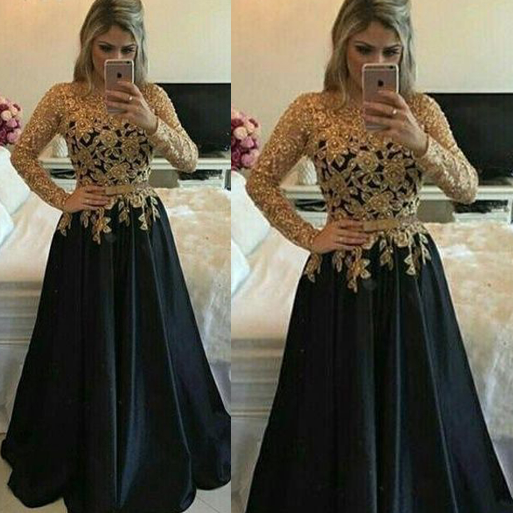 black prom dresses 2019 crew neckline lace appliques long sleeve black evening dresses gowns arabic