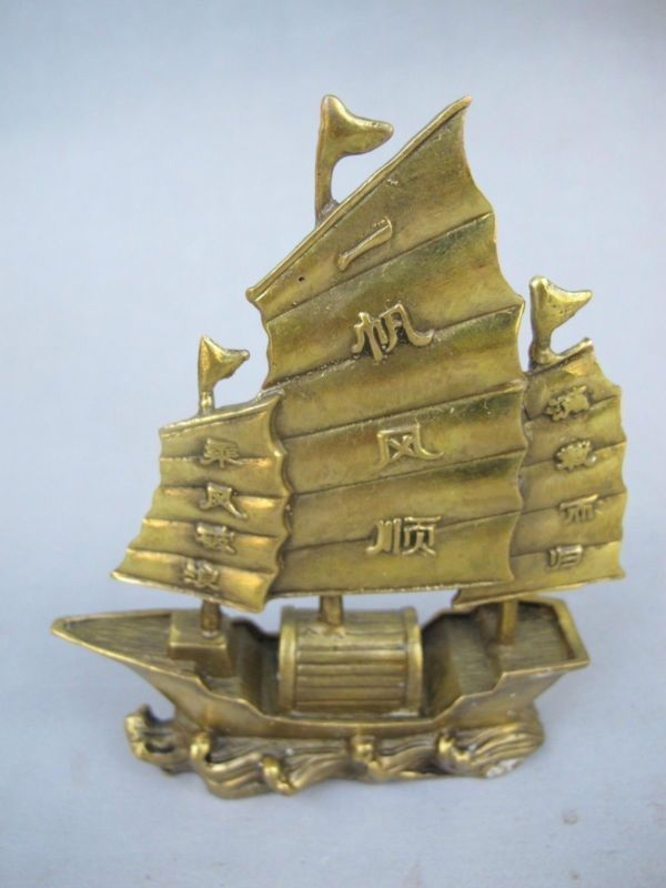 Chinese Beautiful Handmade Copper Statue Boat Smooth Sailing