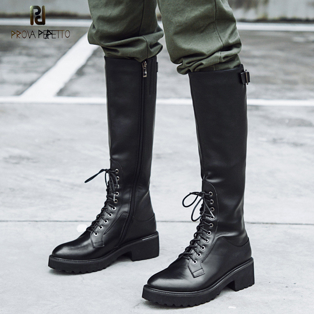 Prova Perfetto Winter Knee High Boots Female Cross tied Real Leather Platform Women Boots Warm Side Zipper Knight Riding BootsProva Perfetto Winter Knee High Boots Female Cross tied Real Leather Platform Women Boots Warm Side Zipper Knight Riding Boots