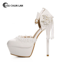 LOUCHUNLAN Woman Shoes Pearl Chain Lace Shoes Shallow Mouth Pumps High Heels Wedding Shoes Party Sexy Fashion White Ladies Shoes