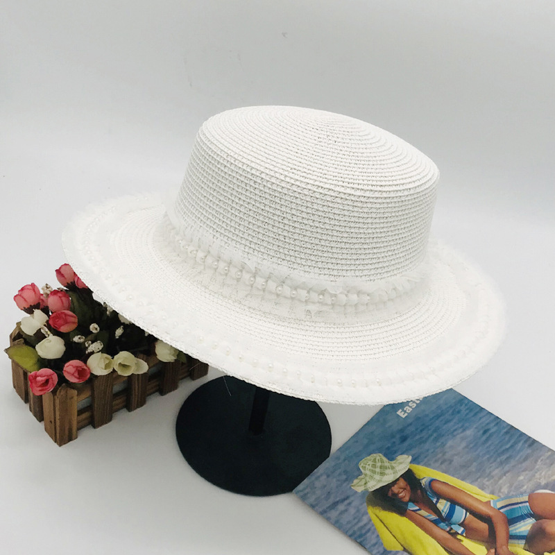 White Straw Sun Hat Short Brim Pearl Lace Flat Top Jazz Cap Elegant Wedding Cloche Beach Sun Hats For Women Chapeau Femme A115 in Women 39 s Sun Hats from Apparel Accessories