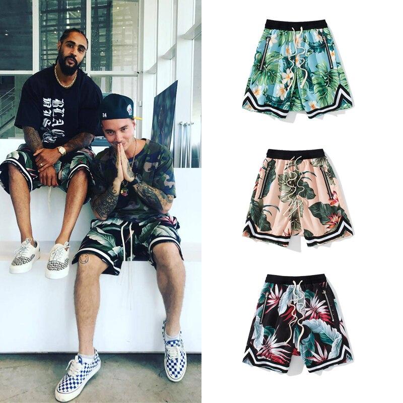Justin Bieber Print Shorts Floral Mesh Beach Shorts Summer Streetwear Baggy Harem Shorts Men Hip-hop Joggers Side Zip