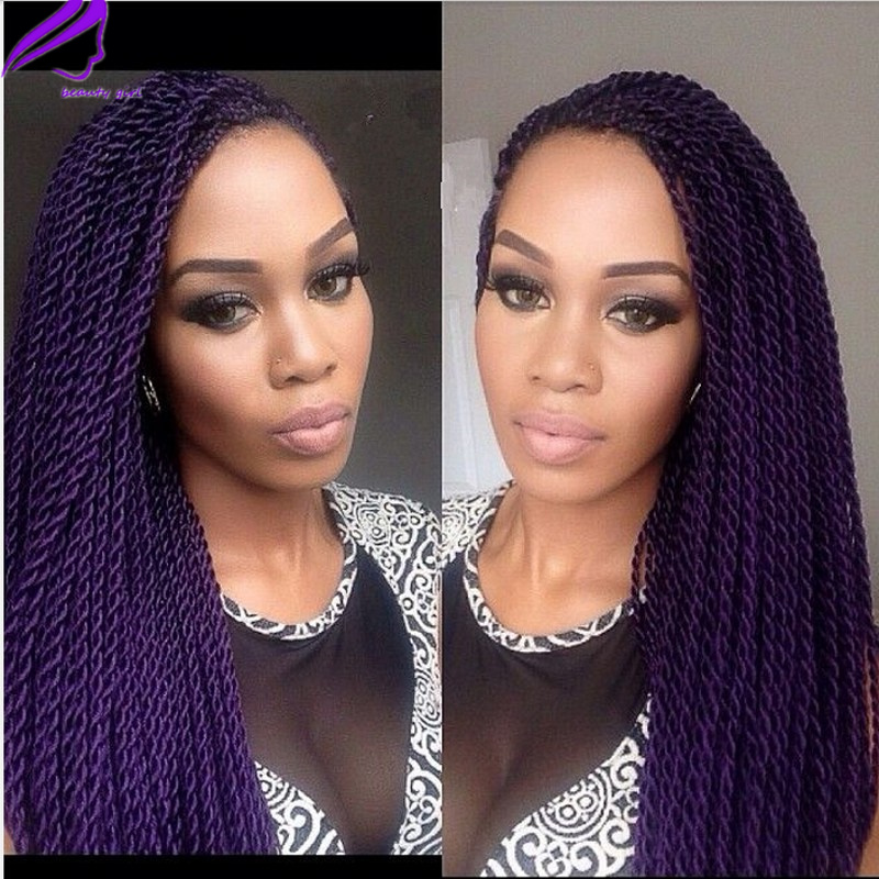 Fashion purple Synthetic Lace front wig Senegalese Twist ...