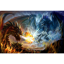 Full Square drill 5D DIY Diamond embroidery Fire Dragon and Thunder Painting Cross Stitch Rhinestone Mosaic Y1301