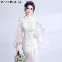 SOCCI Weekend Illusion Sexy Wedding Dress 2017 Ivory Tulle Appliques Lace Flowers Beading China Bridal Gowns Vestido de noite
