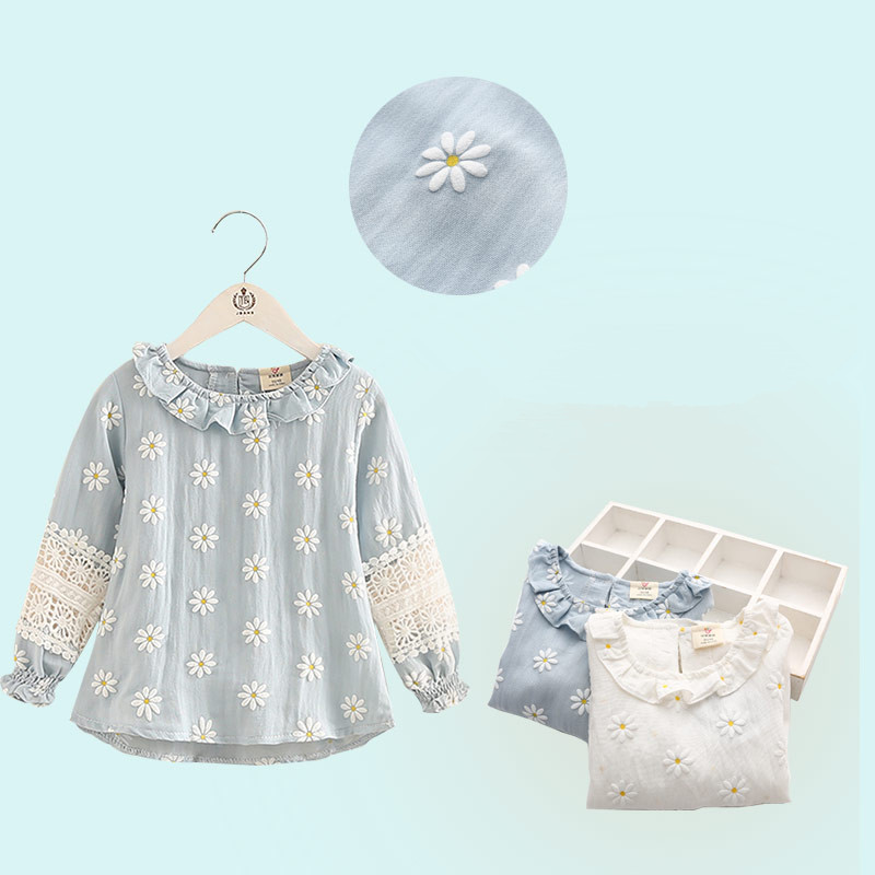 2018 Spring Fashion Female Child Children'S Clothing Baby Girl Mandarin Collar Long-Sleeve Cutout Flower Shirt  (2)