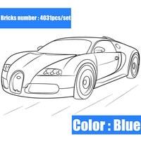 New 4031pcs Technic series Racing Blue Car fit legoings technic motor building block Bricks Gift kid diy toys boy