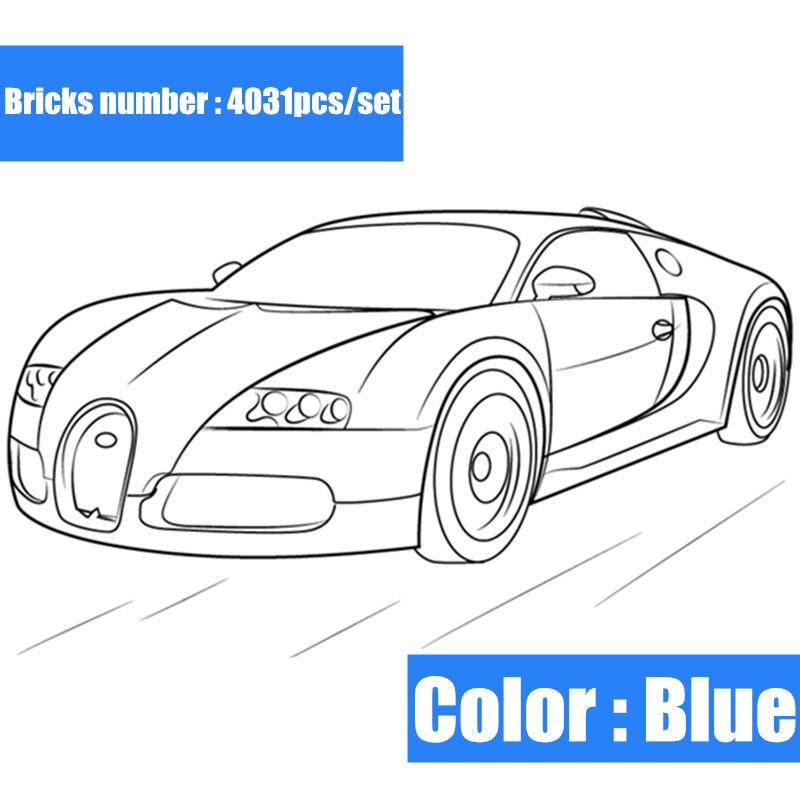 Nouveau 4031 pièces Technic série course bleu voiture fit legoings technique moteur bloc de construction briques cadeau enfant bricolage jouets garçon