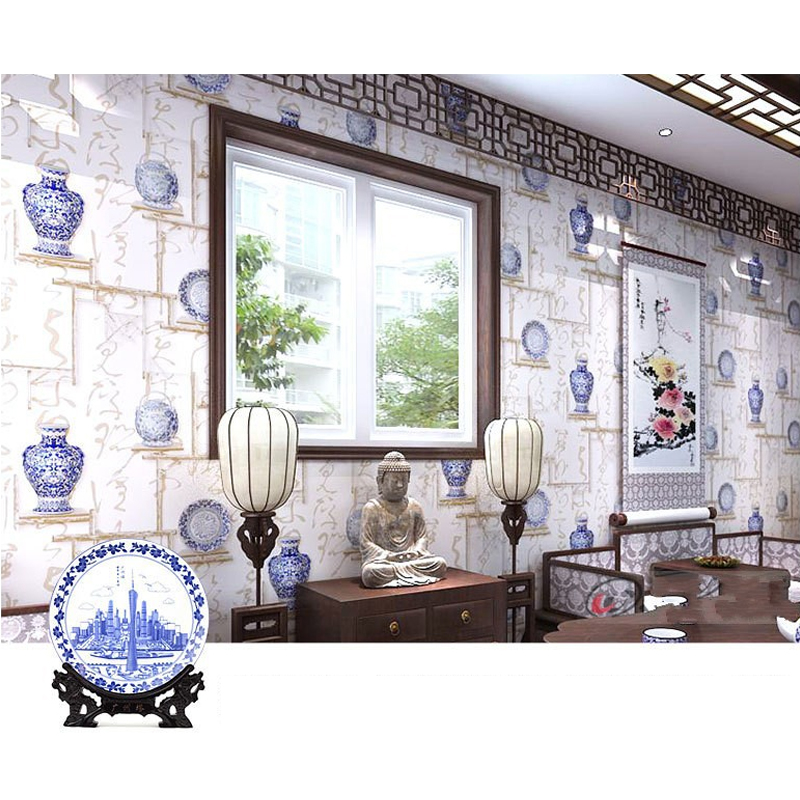 PVC Blue And White Porcelain Classical Art Calligraphy 3D