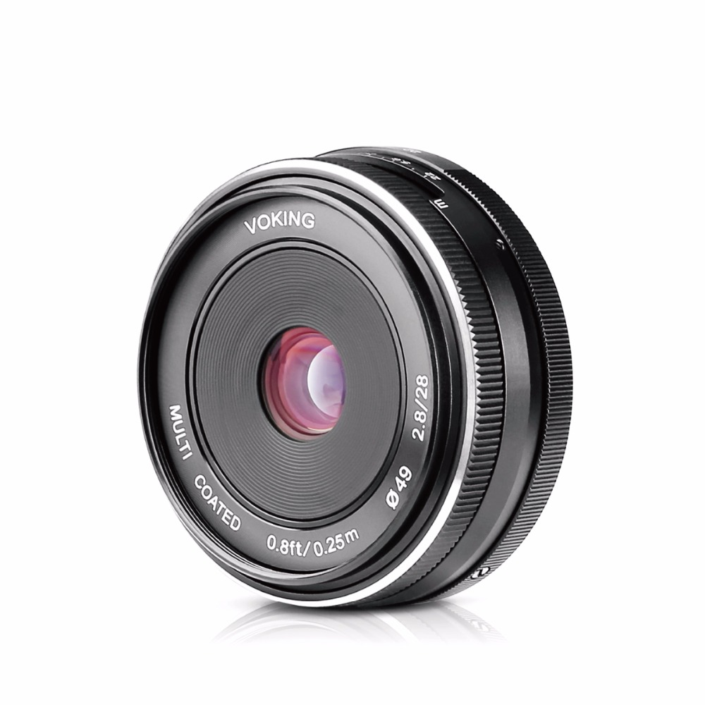 VOKING VK-28-2.8 28mm f2.8 f/2.8 large aperture manual focus lens for Mirrorless Camera lens for Sony E mount jintu 900mm f 8 mirror super tele manual fix focus lens for sony alpha a900 a700 a300 a200 a100 dslr camera