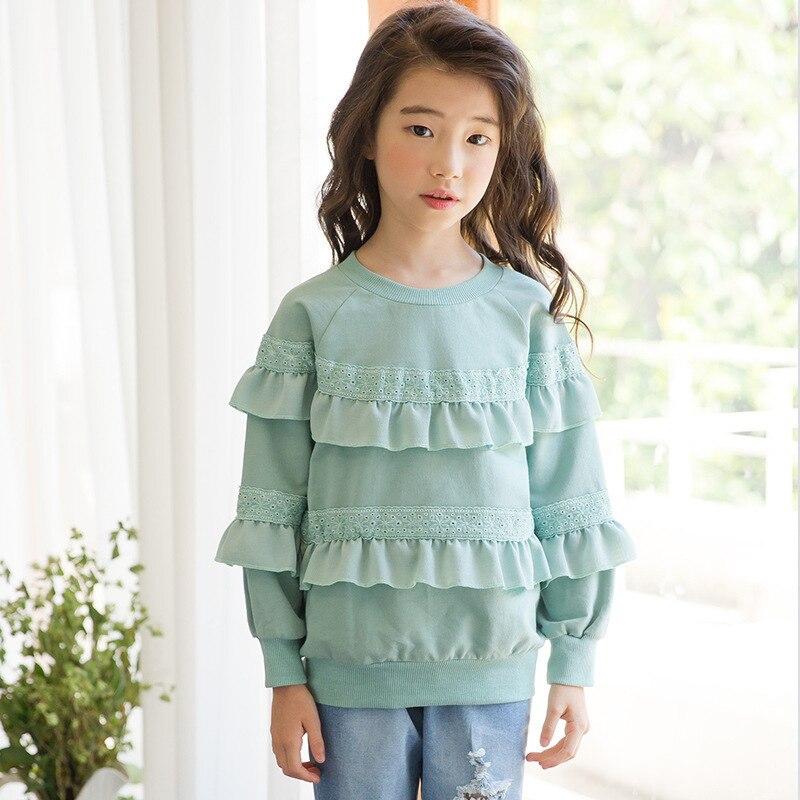 ruffles school sweatshirt girls hoodie children clothing cotton autumn winter green sweatshirt for kids clothes long sleeve tops стоимость