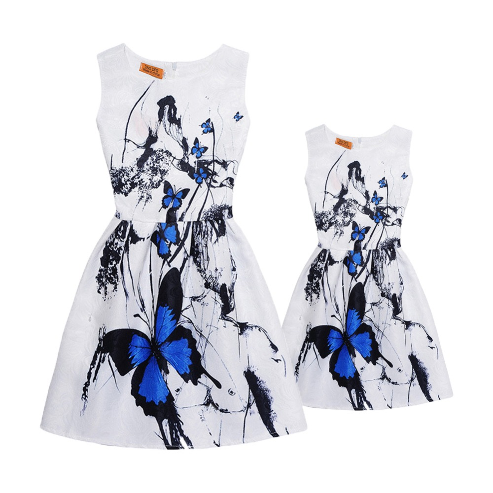 Fashion Mommy and me Clothes Matching Sister Outfits Casual Mother and Daughter Dress Butterfly Print Vintage Teenage Girl Dress ...