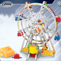 3D Assembly Ferris wheel Building Puzzle Metal Model Kits with metal Beams and screws Lights & Music Construction Play Set