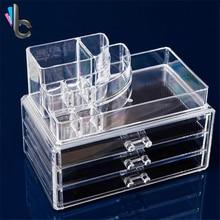 3 ящиками прозрачный акриловый макияж организатор помады лак для ногтей, Косметические Коробка для хранения Дисплей коробка Рождественский подарок