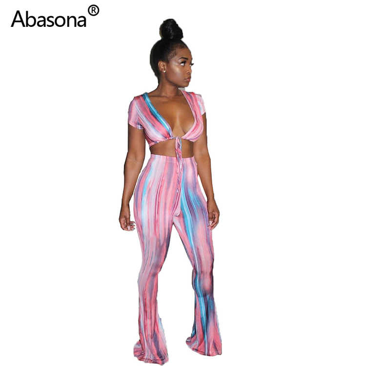 2019 tie dye striped print tie up v-neck crop top wide leg full length pants with elastic waist suit two piece set party outfit