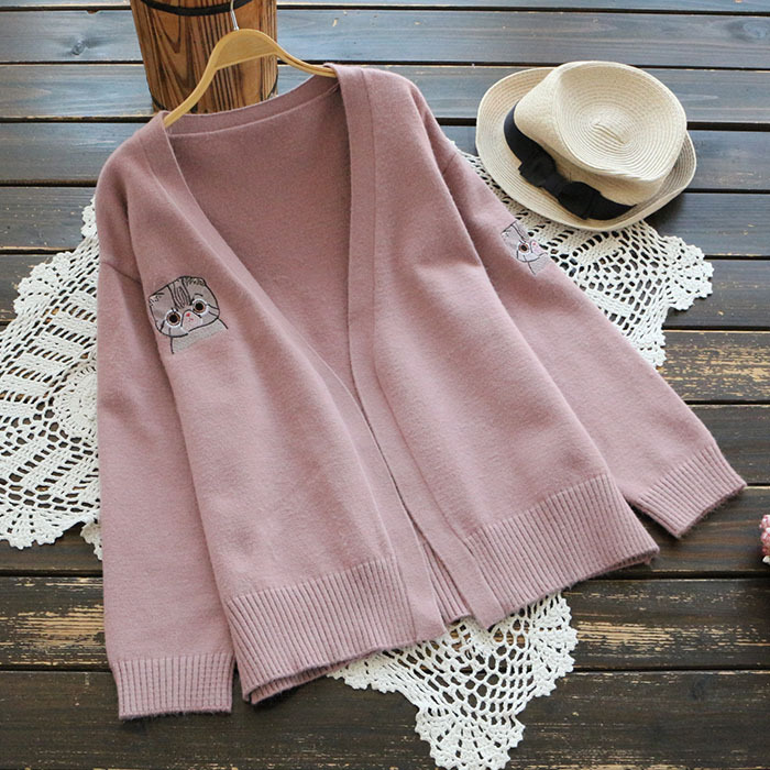 Sweet Autumn Pink Open Stitch Cardigan Women V-Neck Outerwear Full Sleeve Cute Cat Embroidery Knitted Sweater Women Coats