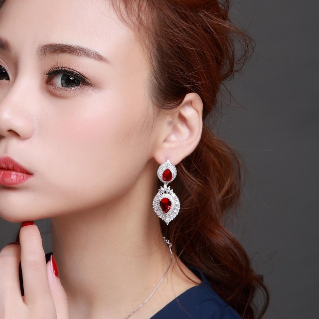 Women Luxury Big drop Earrings Platinum Plated AAA Cubic Zirconia Wedding Earrings  Allergy Free Lead Free