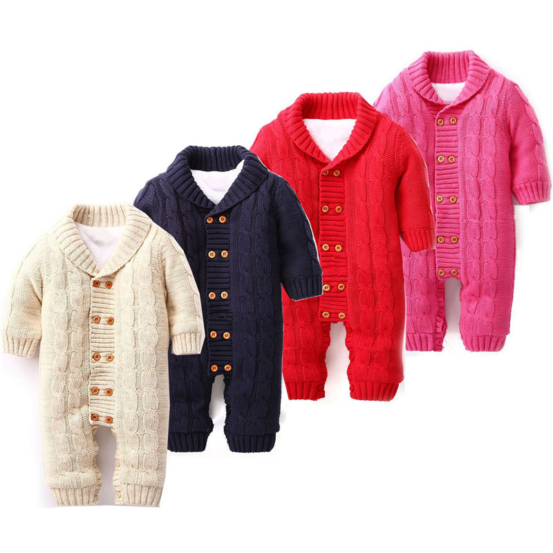 6M-18M Baby Clothing Baby Girl Rompers Knitting Romper Solid Cotton Thickening Coral Velvet Winter For Baby Boy Rompers V20