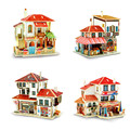 Colorful 3D Wooden Puzzle of Turkey Style House Wood 3D Assembled Mini House Model Kits DIY Jigsaws for Kids Educational Toys