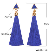 Geometric Triangle Statement Drop Earrings for Women Party Indian Jewelry Bohemian Long Tassel Earrings valentines day gift