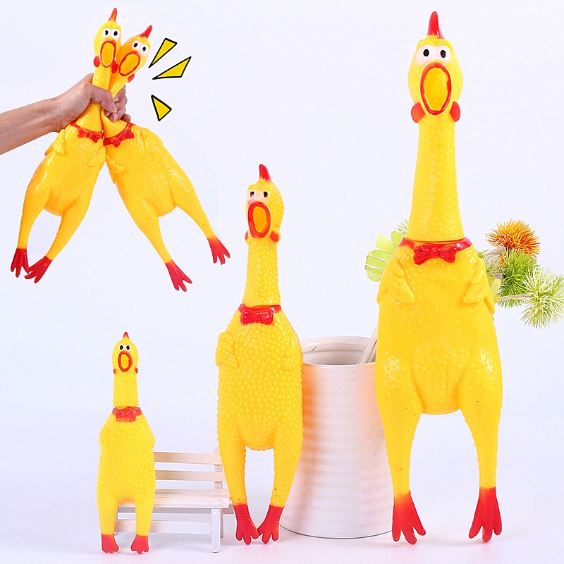 Screaming Chicken Gag Toy Fun Squeeze Sound Toys Novelty Squawking Rubber Chicken Dog Toy Creative Anti Stress For Stress Relief