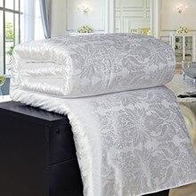Шелк тутового покрывала для одеяла стеганое одеяло лето зима Король Королева Полный двойной размер пододеяльник, постельное белье набор белый/розовый