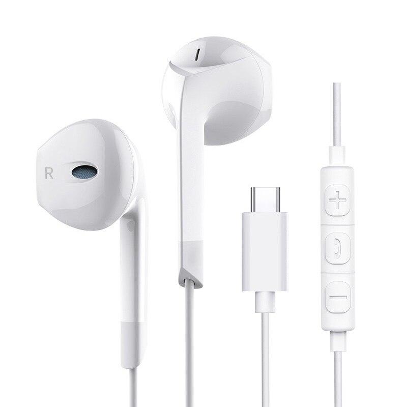 -Tipo C de Alta Fidelidade Fones De Ouvido fone de Ouvido Com Fio de Música Esportes Fone de Ouvido Fones de Ouvido fone de Ouvido Portátil 3.5mm Universal Pesado Baixo Microfone E6T 2
