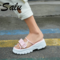 Salu 2019 Classic Sandals Women Comfortable Transparent Shoes Wedge Heel Sandals Shoes Prom Party Casual Shoes Woman