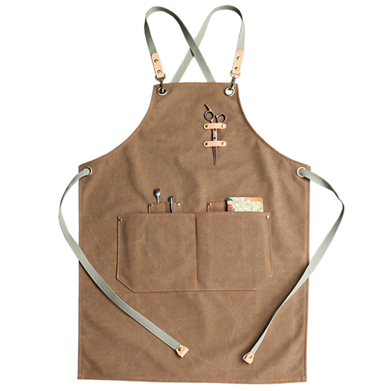 Khaki Gray Canvas Apron Cotton Strap Barista Bartender Baker Waitstaff Uniform Florist Barber Hairdresser Painter Work Wear K41Khaki Gray Canvas Apron Cotton Strap Barista Bartender Baker Waitstaff Uniform Florist Barber Hairdresser Painter Work Wear K41