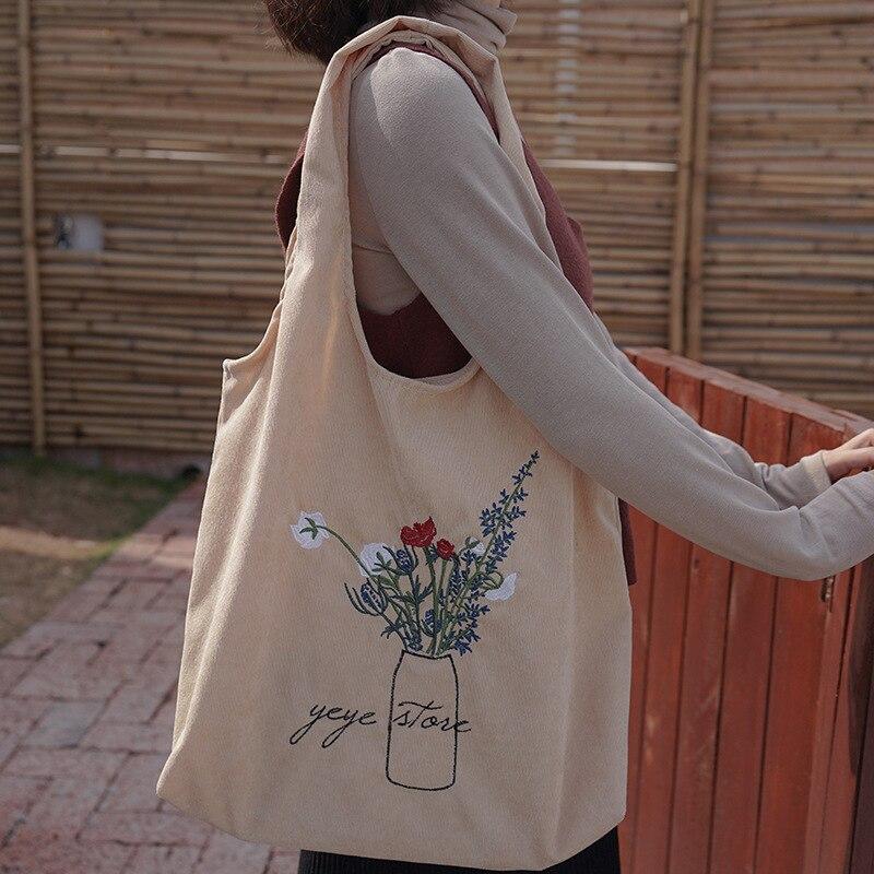 Women Corduroy Shoulder Bag Ladies Embroidery Canvas Shopping Bags Female Eco Cotton Cloth Handbag Foldable Tote Large Capacity