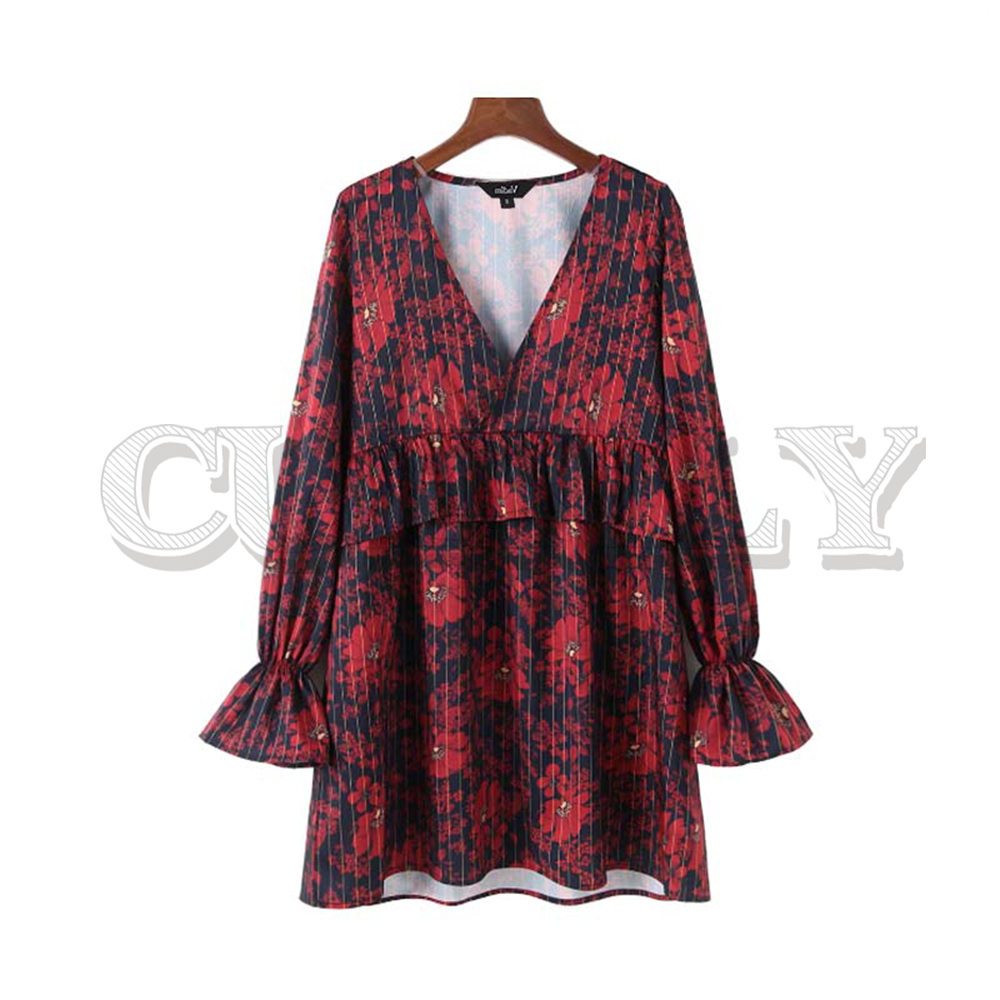 CUERLY women V neck striped floral red dresses ruffled long sleeve pleated female casual retro straight dress vestidos 2019 in Dresses from Women 39 s Clothing
