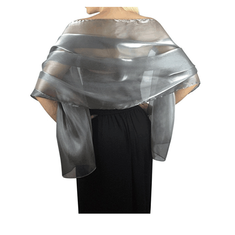 Promotion Bridal Wedding black Silver grey Shawl Brides maid   wraps   silky   scarves   evening   wraps   party   wraps   Free shipping