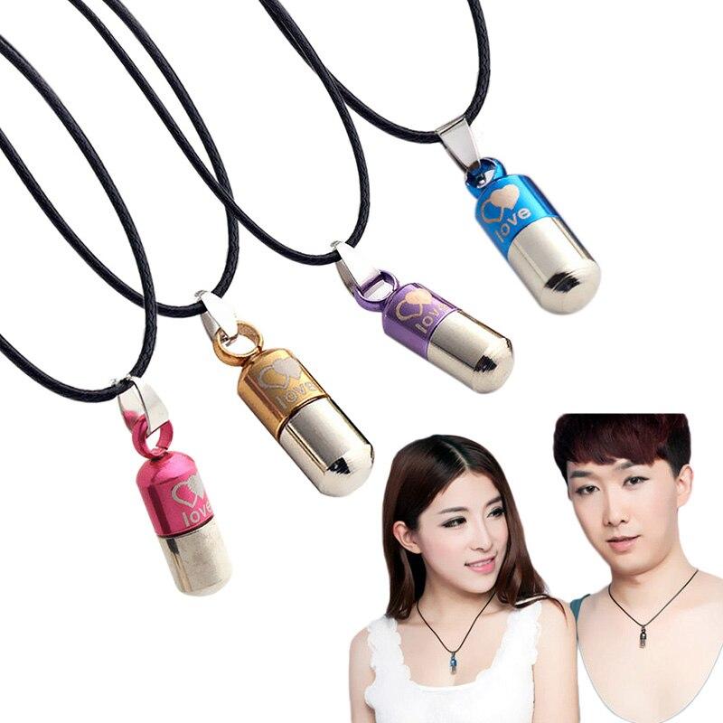 Delicate Pill Capsule / Perfume Bottle Design Titanium Steel Necklaces & Pendants for Men Women Couples Lovers