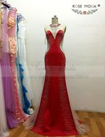 Rose Moda Real Photo Red Velour Shining Bling Sexy Evening Dress With See through Back High End Custom Made