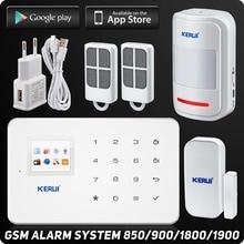 Kerui G18 Мобильный Телефон app GSM Сигнализация Цветной жк-дисплей Встроенная Сирена Для Дома Охранной Сигнализации 99 Беспроводной зоны