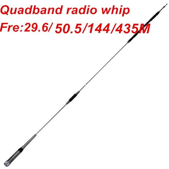 US $46 98  OSHINVOY Quad band mobile radio antenna 29 6/50 5/144/435MHz hf  vhf uhf whip antenna vehicle radio quadband car radio antenna-in Antennas