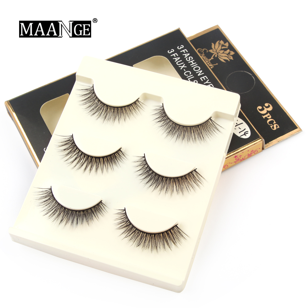 MAANGE 3D Soft Mink Hair 3Pairs/Box Pro Beauty Dramatic Handmade Lashes Cruelty Free Luxury Natural False Eyelash Make Up Tools