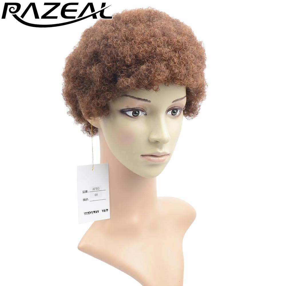 Synthetic Wigs Razeal Short Wigs Black Short Synthetic Wigs Cosplay Perruque Women Afro Kinky Curly Wigs Drawstring Hair Extensions & Wigs