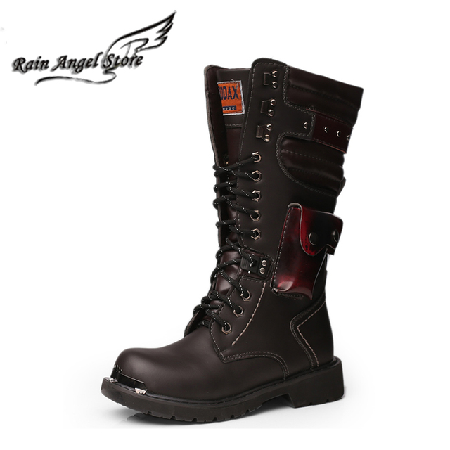 Fashion British Men Boots Rivet Decorative Male Motorcycle Boots bota masculino PU Leather Stitching Tall Outdoor Boots