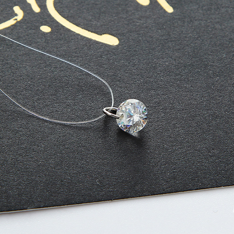 Women 2017 New Jewelry Bijoux Elegant Gift Fine Transparent Invisible Line Super Shinning Zircon Choker Necklace